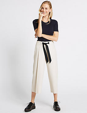 Contrast Tie Waist Cropped Culottes