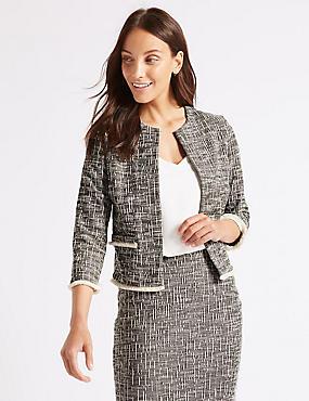 Cotton Rich Textured Jersey Blazer , BLACK MIX, catlanding