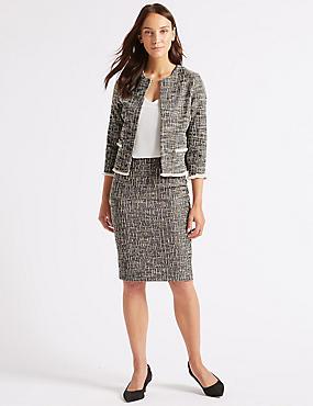 Cotton Rich Textured Jersey Pencil Skirt , BLACK MIX, catlanding