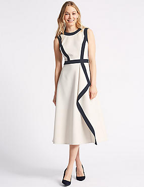 Colour Block Round Neck Skater Midi Dress , BEIGE MIX, catlanding