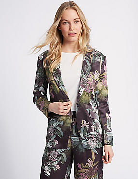 Floral Print Single Breasted Blazer, PURPLE, catlanding