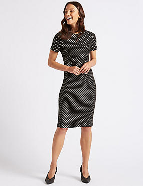 Spotted Half Sleeve Pencil Dress