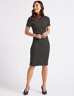 Spotted Half Sleeve Pencil Dress , BLACK MIX, catlanding