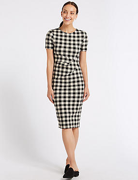 Checked Short Sleeve Pencil Dress , MULTI, catlanding