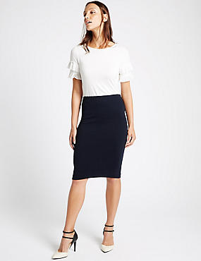 Textured Rib Pencil Skirt