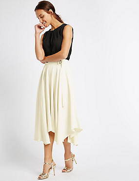 Buckle Detail Handkerchief Hem Midi Skirt