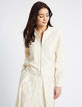 Cotton Blend Lace Bomber Jacket