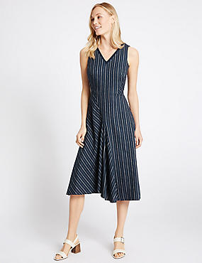 Linen Rich Striped Asymmetric Skater Dress