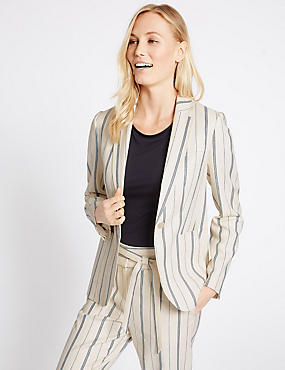 Linen Blend Stripe Patch Pocket Blazer with Stretch