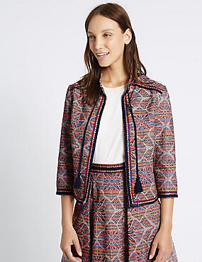 Cotton Rich Tassel Neck Jacquard Jacket