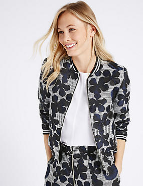 Floral Jacquard Woven Bomber Jacket