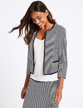 Jersey Striped Blazer , NAVY MIX, catlanding