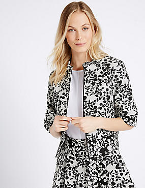 Cotton Blend Jacquard Print Jacket