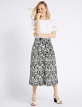 Floral Jacquard Woven A-Line Midi Skirt