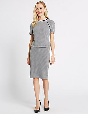Checked Bodycon Midi Skirt
