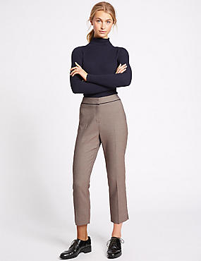 Jacquard Cropped Slim Leg Trousers