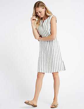 Pure Linen Striped Tunic Dress , IVORY MIX, catlanding