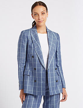 Pure Linen Checked Blazer , BLUEBELL, catlanding