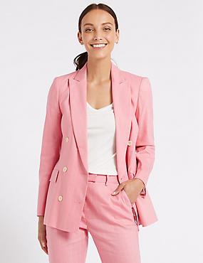 Linen Rich Striped Blazer , SUGAR PINK, catlanding