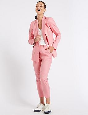 Linen Rich Stripe Slim Leg Trousers, SUGAR PINK, catlanding