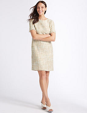 Textured Short Sleeve Shift Dress , IVORY MIX, catlanding