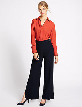 Split Detail Wide Leg Trousers