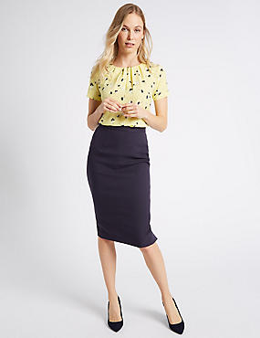 Patch Detail Pencil Midi Skirt , NAVY, catlanding