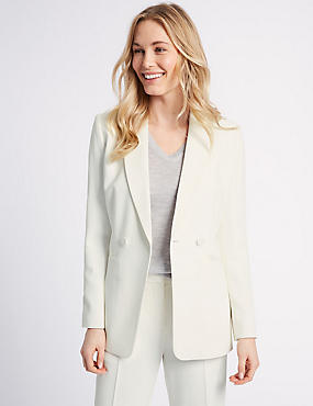 Double Breasted Blazer, WINTER WHITE, catlanding