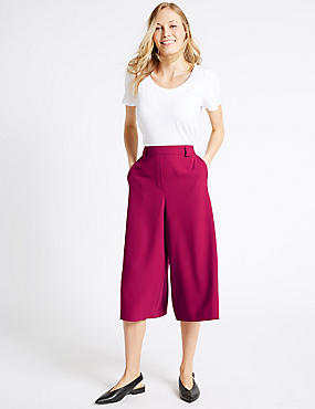 Back Pocket Cropped Culottes