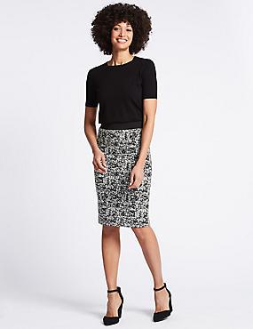 Cotton Blend Jacquard Print Pencil Skirt , BLACK MIX, catlanding