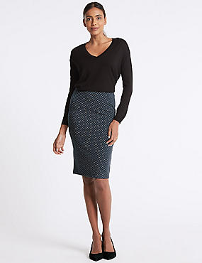 Spotted Jersey Pencil Skirt , NAVY, catlanding