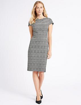 Checked Short Sleeve Pencil Dress, PINK MIX, catlanding