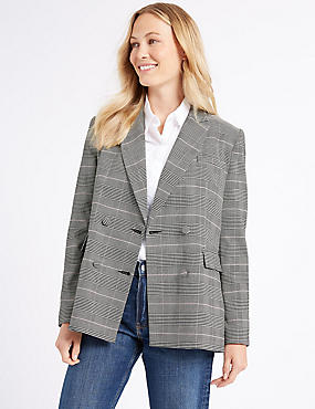 Checked Double Breasted Blazer , PINK MIX, catlanding