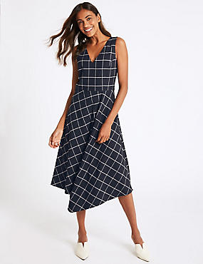 Checked Fit & Flare Midi Dress, NAVY MIX, catlanding