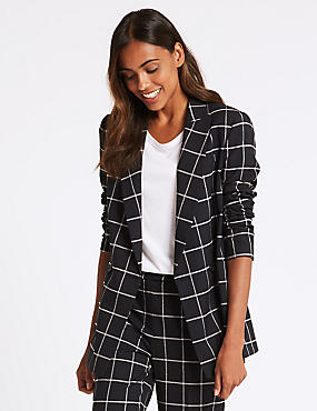 Checked Double Breasted Blazer, NAVY MIX, catlanding