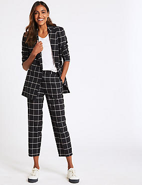 Checked Straight Leg Trousers, NAVY MIX, catlanding