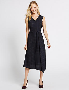 Checked Tie Waist Midi Dress