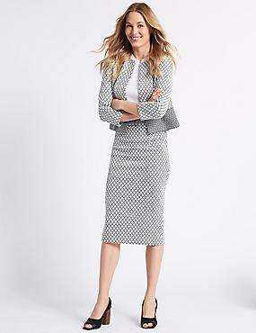 Jersey Checked Pencil Skirt , BLACK MIX, catlanding