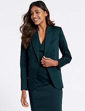 Cotton Rich Single Breasted Blazer , NAVY, catlanding