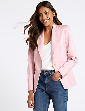 Cotton Rich Single Breasted Blazer , SUGAR PINK, catlanding