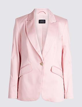 Cotton Rich Single Breasted Blazer , SUGAR PINK, catlanding