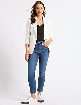 Cotton Rich Single Breasted Blazer , WINTER WHITE, catlanding