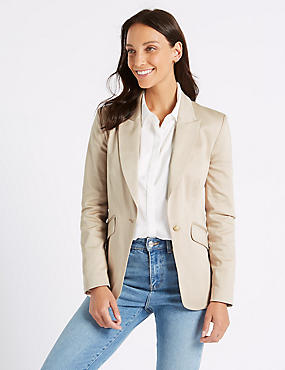 Cotton Rich Single Breasted Blazer , OYSTER, catlanding