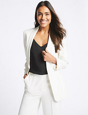 Single Breasted Blazer , IVORY, catlanding