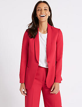 Single Breasted Blazer , LIPSTICK, catlanding