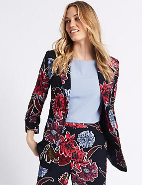 Floral Print Ruched Blazer , NAVY MIX, catlanding
