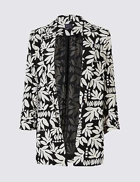 Floral Print Ruched Blazer , BLACK MIX, catlanding