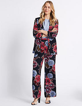 Floral Print Wide Leg Trousers , NAVY, catlanding
