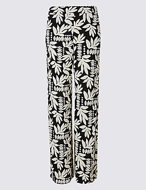 Floral Print Wide Leg Trousers , BLACK MIX, catlanding