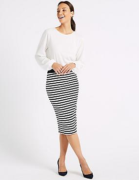 Striped Jersey Pencil Skirt , NAVY MIX, catlanding